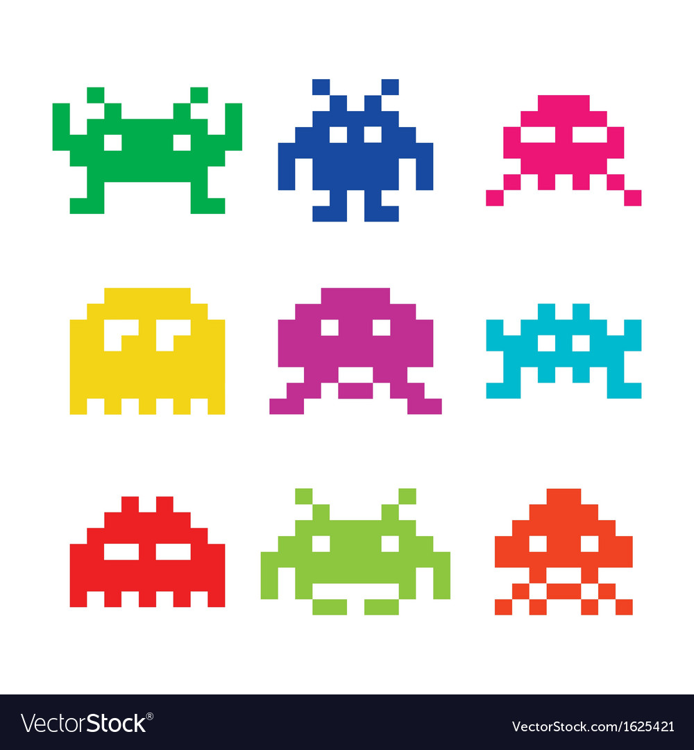 Space invaders 8bit aliens icons set vector | Price: 1 Credit (USD $1)