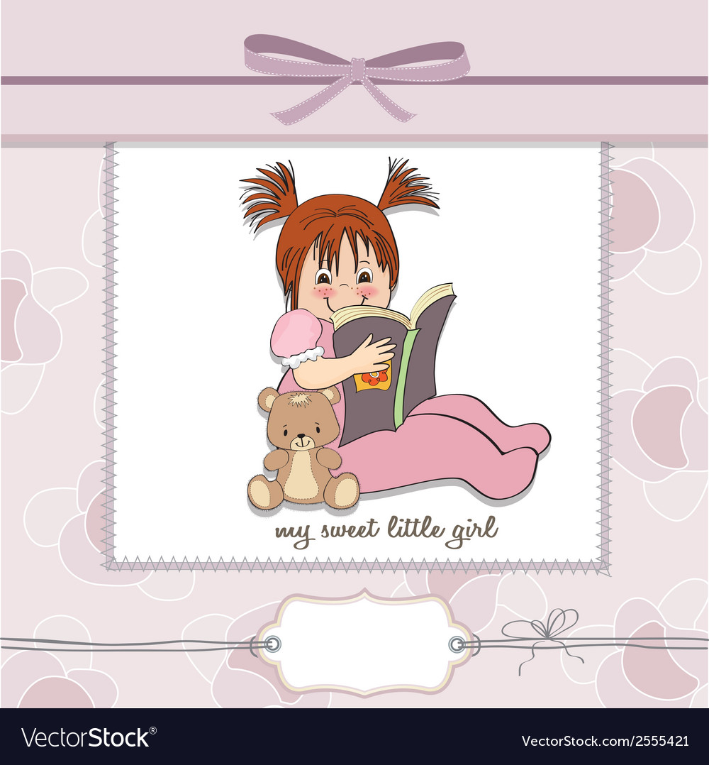 Sweet little girl reading a book vector | Price: 1 Credit (USD $1)