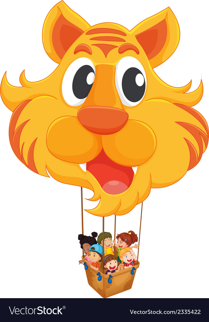 A tiger balloon with a basket full of kids vector | Price: 1 Credit (USD $1)