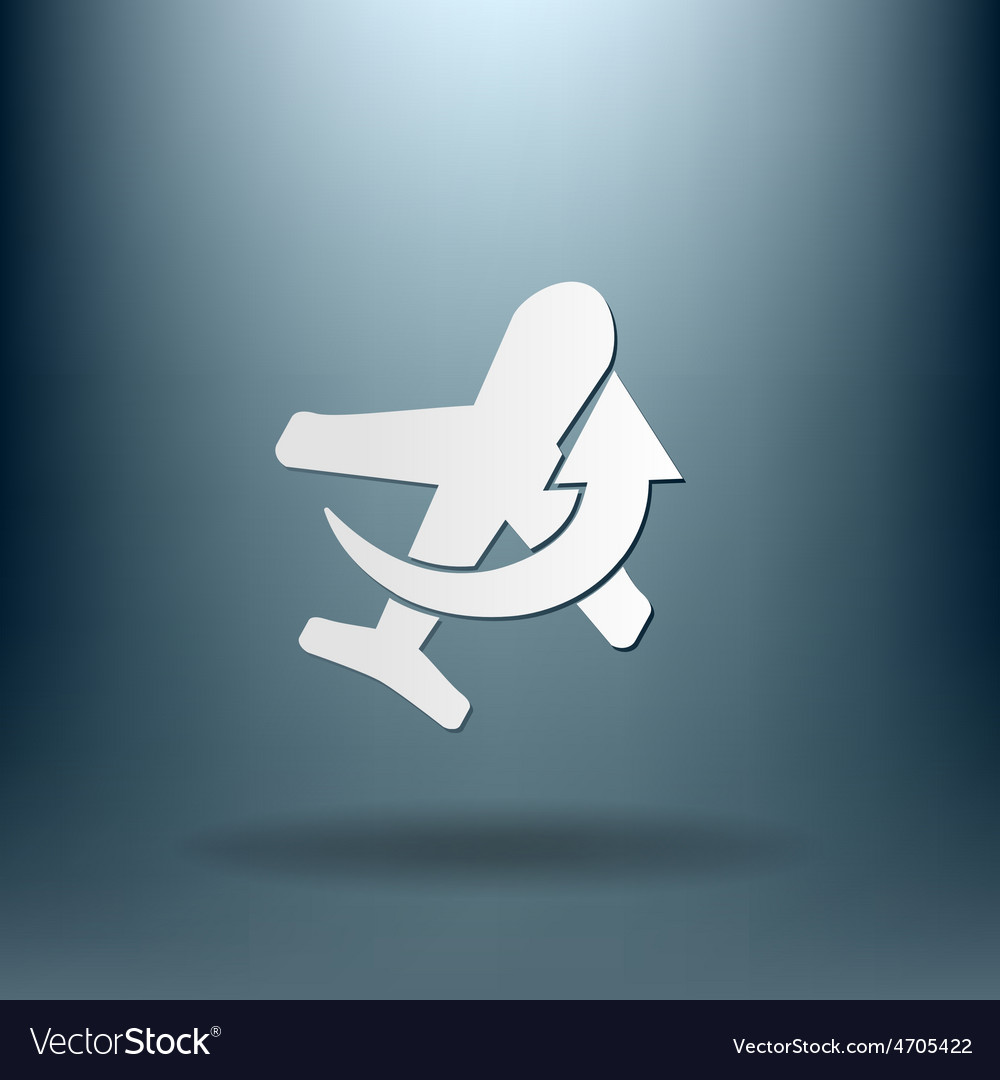 Airplane symbol icon of air travel vector   Price: 1 Credit (USD $1)