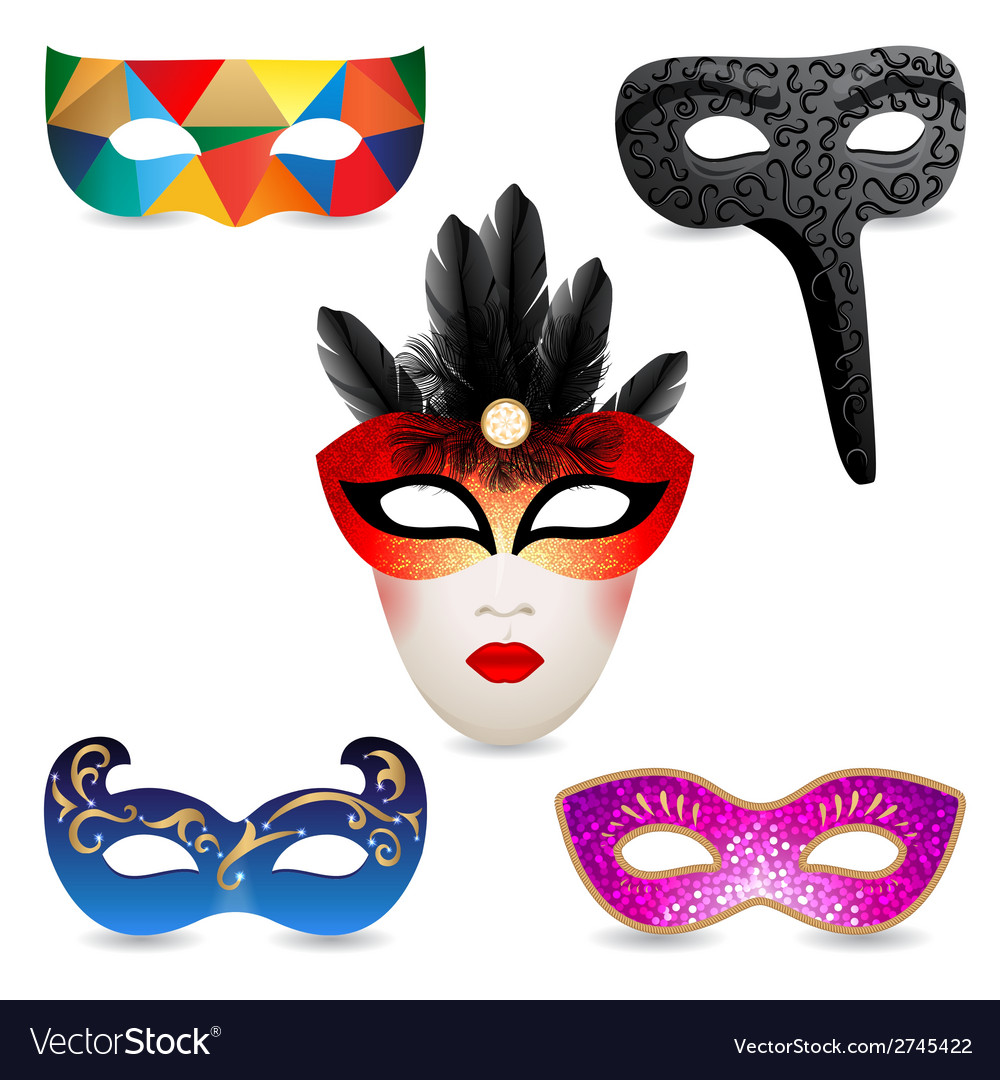 Bright carnival masks icons vector | Price: 1 Credit (USD $1)