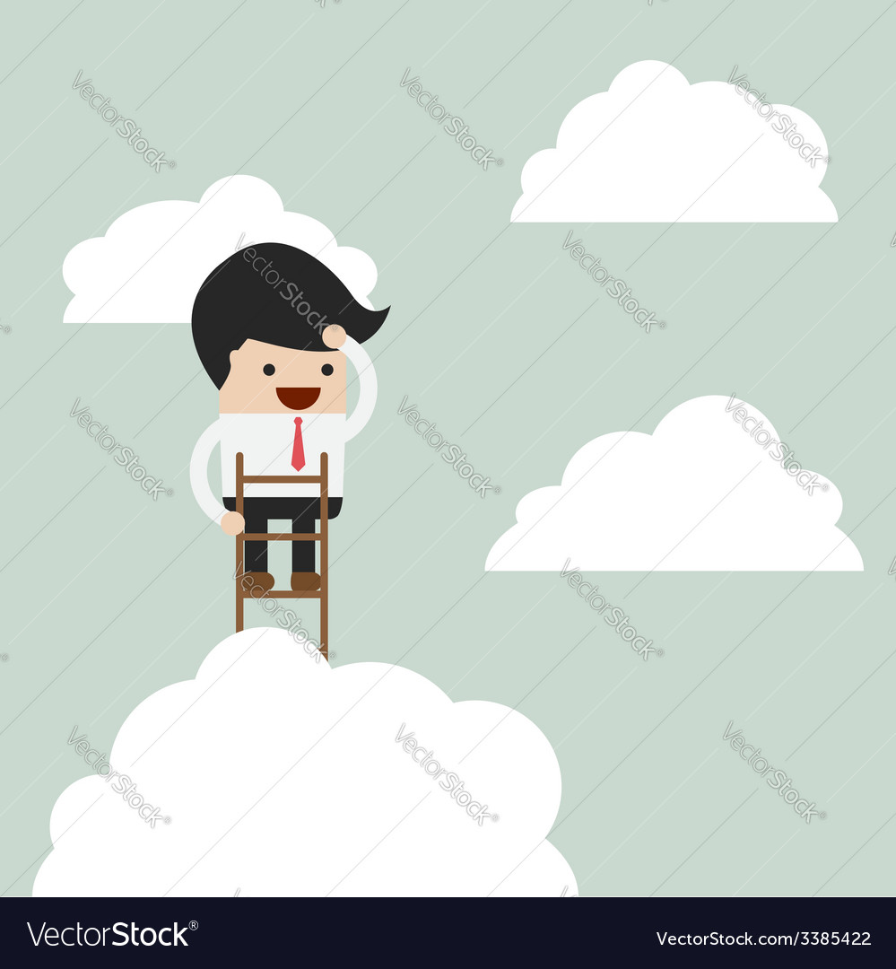 Businessman climbing up a ladder to above the clou vector | Price: 1 Credit (USD $1)