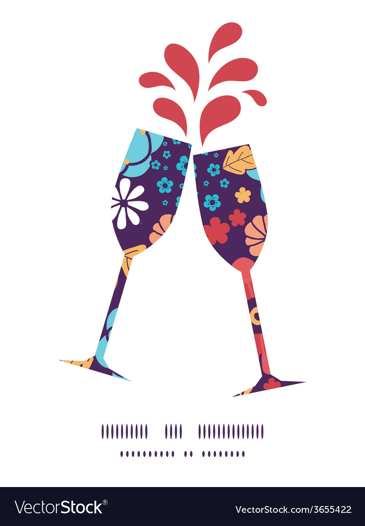Colorful bouquet flowers toasting wine glasses vector   Price: 1 Credit (USD $1)