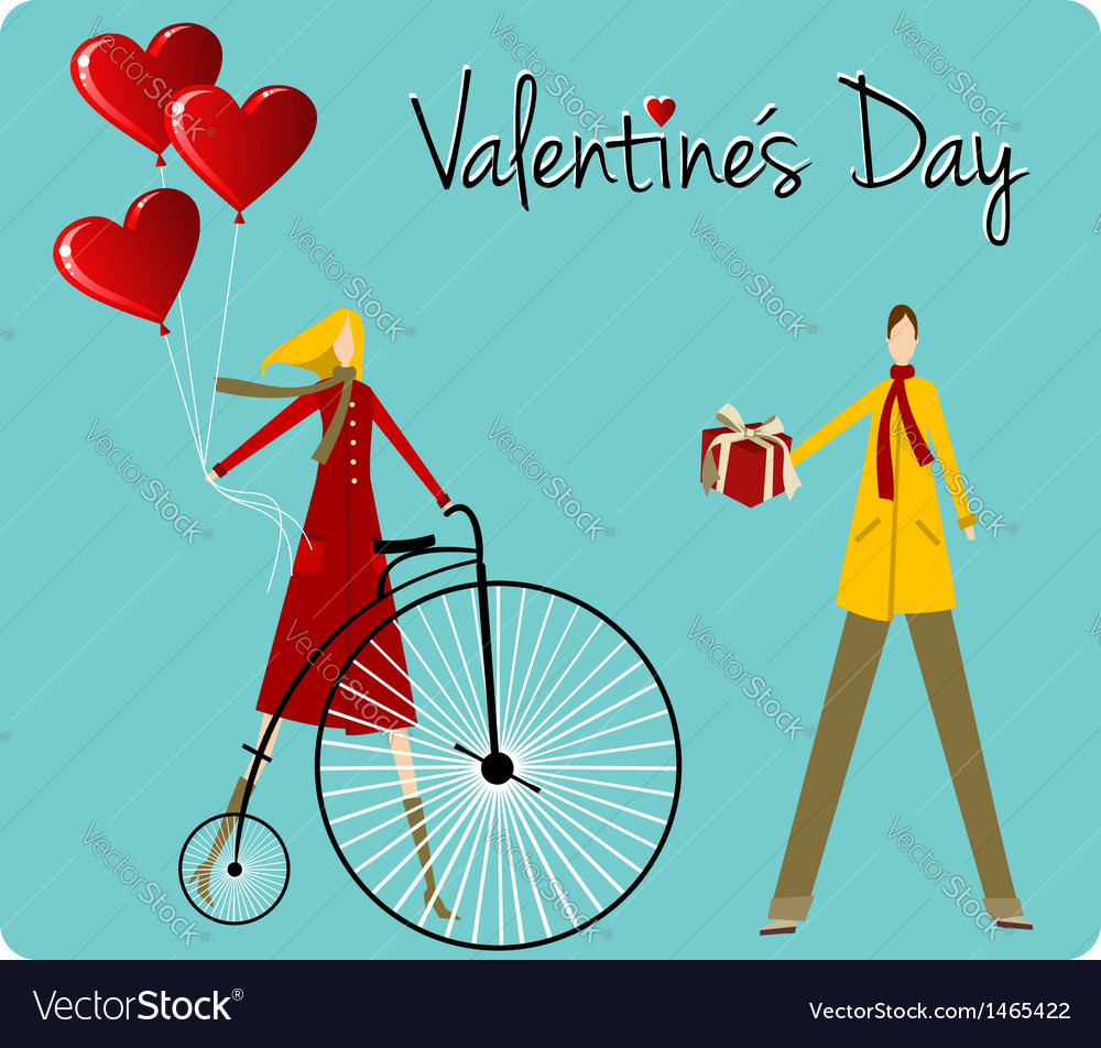 Couple with retro bike valentines day greeting vector | Price: 1 Credit (USD $1)