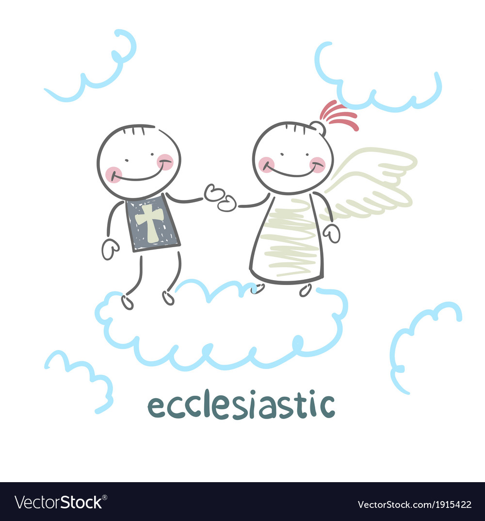 Ecclesiastic looking at an angel vector | Price: 1 Credit (USD $1)