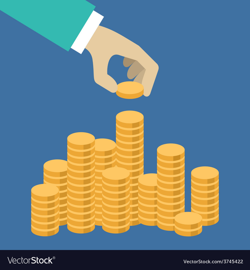 Flat design hand putting a coin in the pile vector | Price: 1 Credit (USD $1)