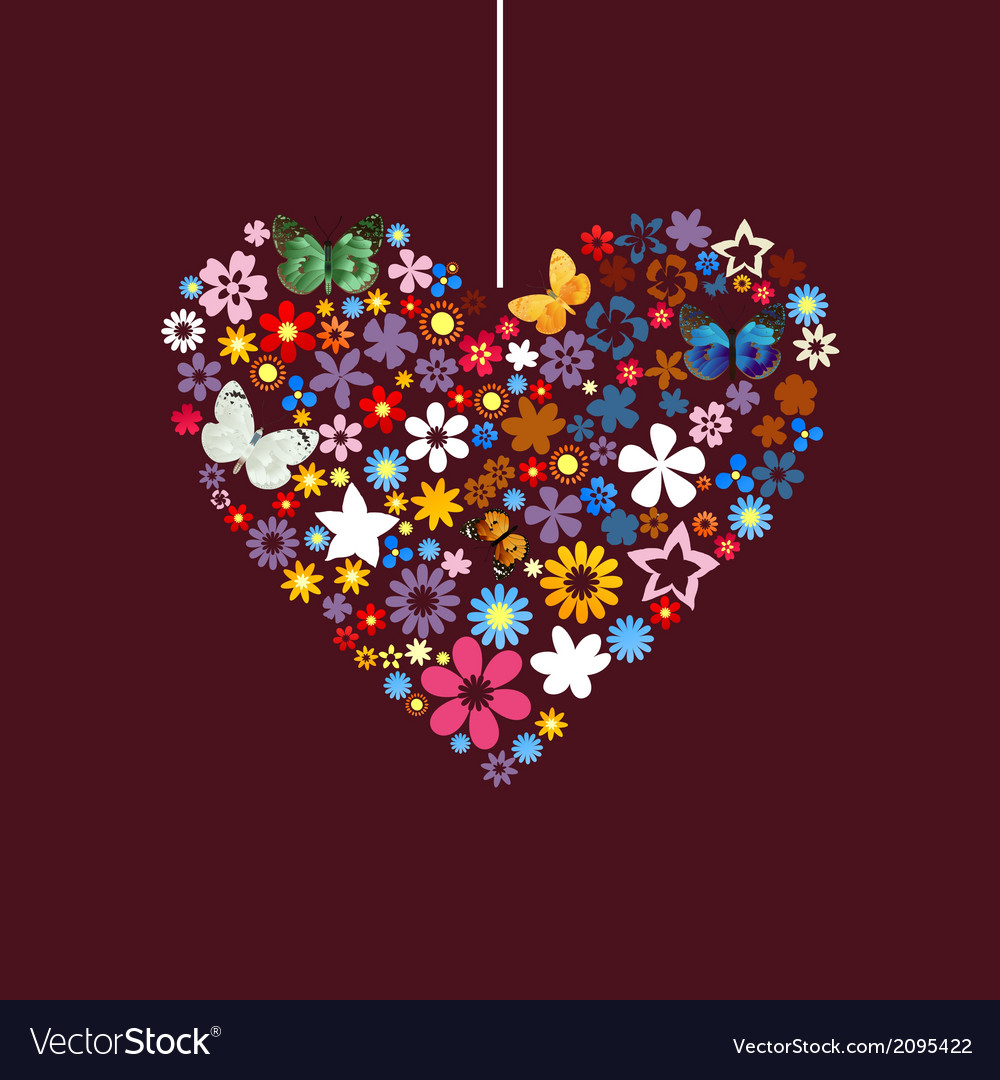 Flower heart vector | Price: 1 Credit (USD $1)