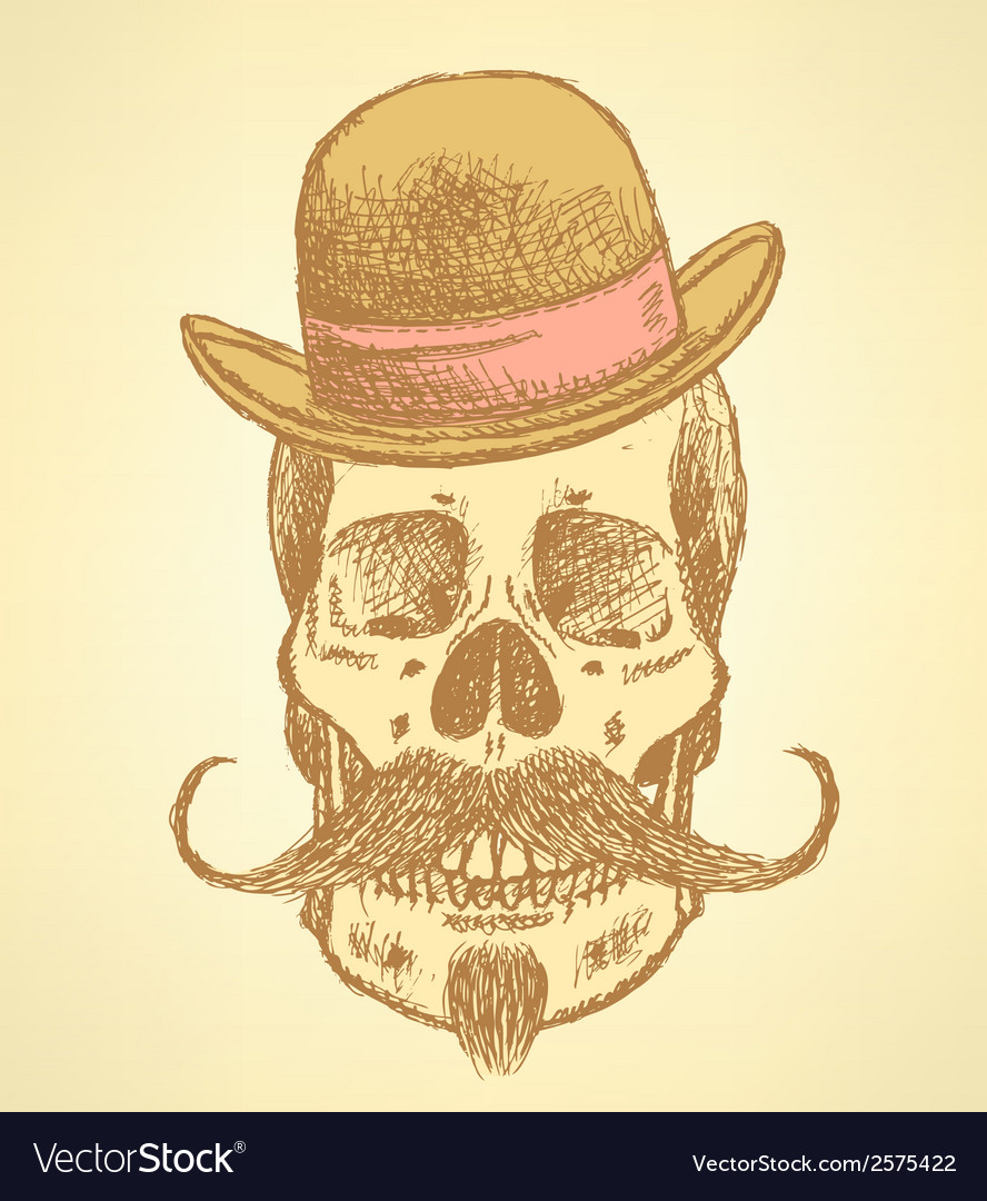 Hat mustache scull vector | Price: 1 Credit (USD $1)