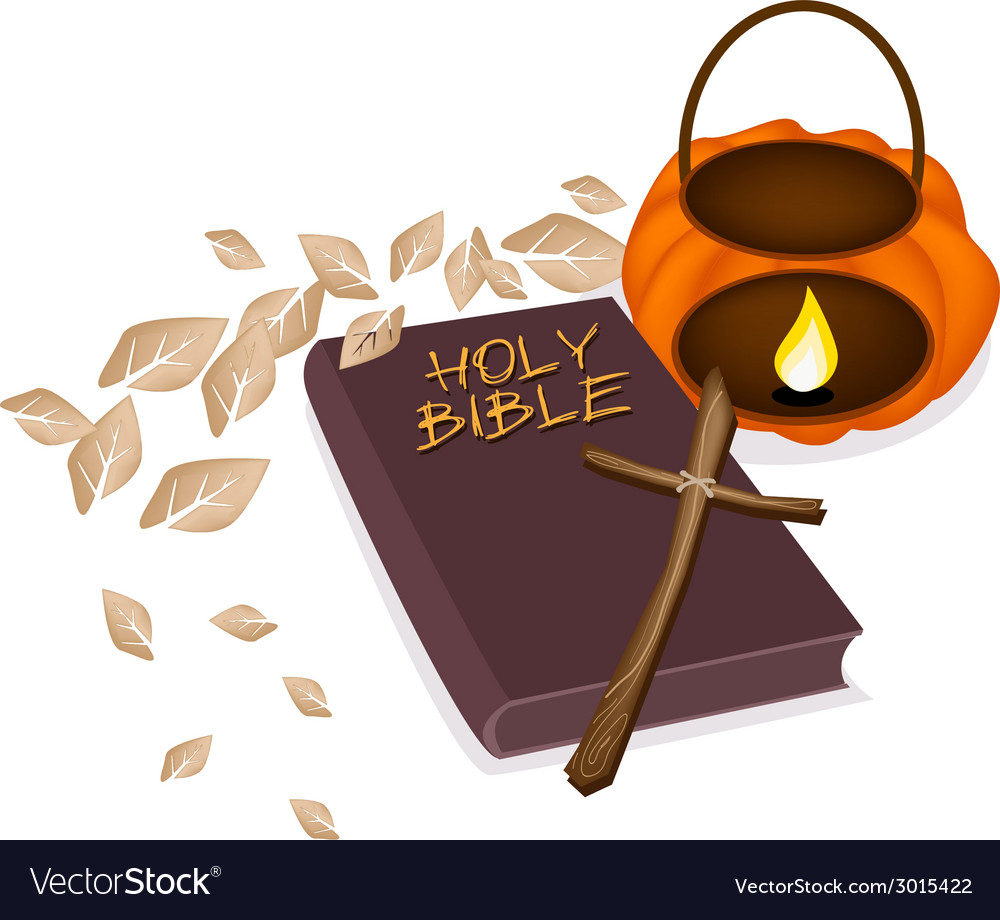 Holy bible with wooden cross and pumpkin lantern vector | Price: 1 Credit (USD $1)