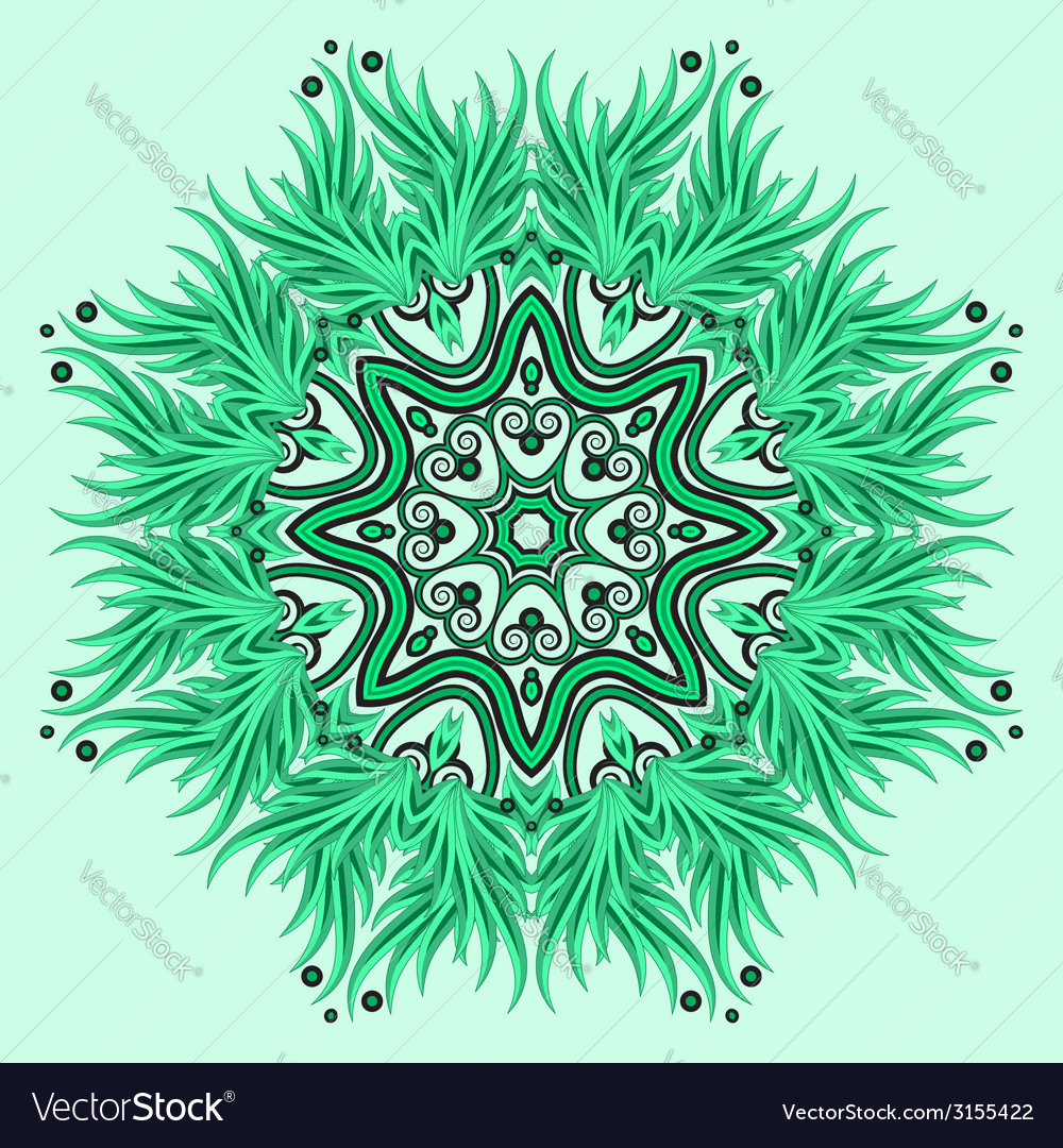 Mandala ornament in green colors vector | Price: 1 Credit (USD $1)