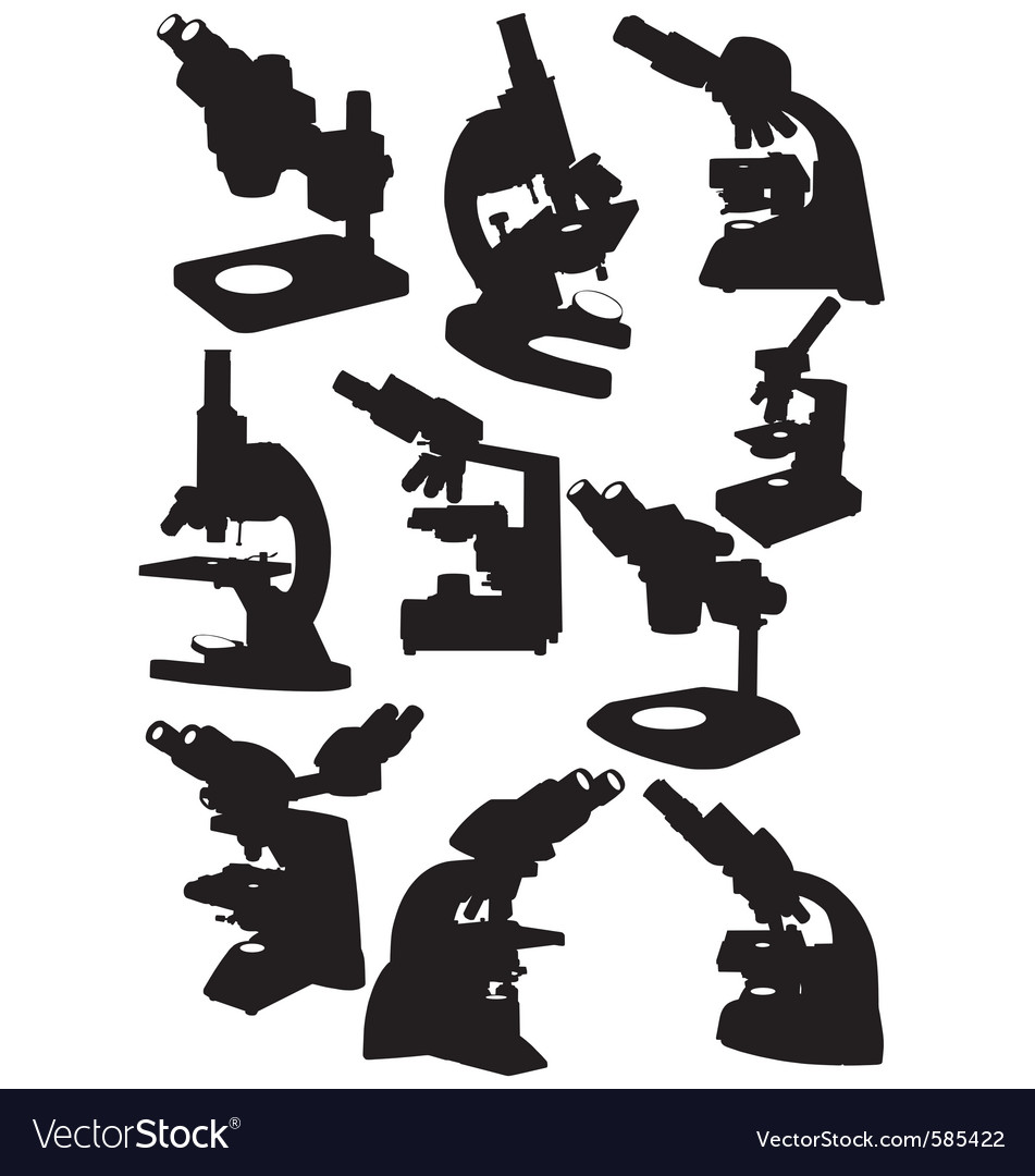 Microscope silhouettes vector | Price: 1 Credit (USD $1)