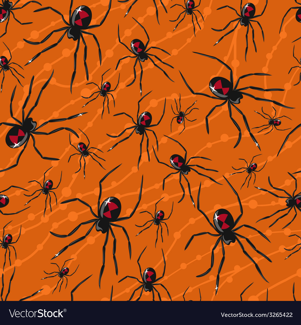 Seamless halloween pattern with poisonous spiders vector | Price: 1 Credit (USD $1)