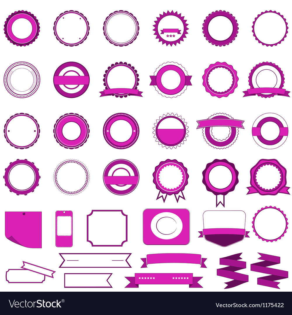 Set of sale badges labels and stickers in pink vector | Price: 1 Credit (USD $1)