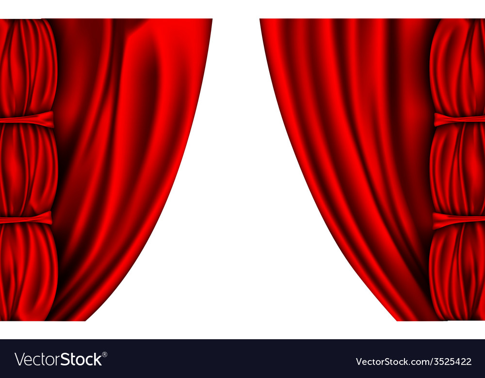Shiny red silk curtains with columns vector | Price: 1 Credit (USD $1)