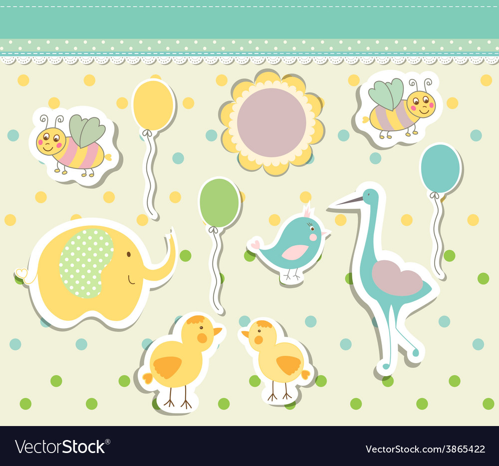 Vintage doodle baby toys for greeting card vector | Price: 1 Credit (USD $1)