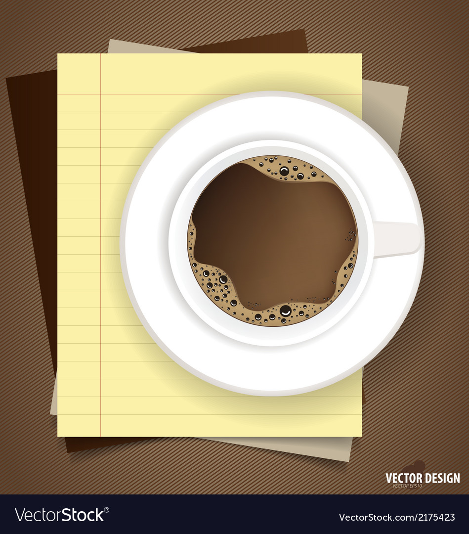 A cup of coffee with note papers ready for your vector | Price: 1 Credit (USD $1)
