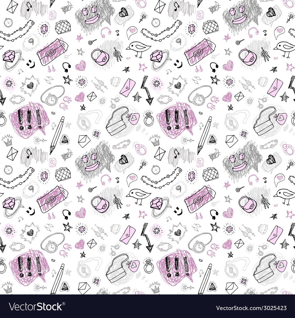 Back to school hand drawn seamless pattern vector | Price: 1 Credit (USD $1)