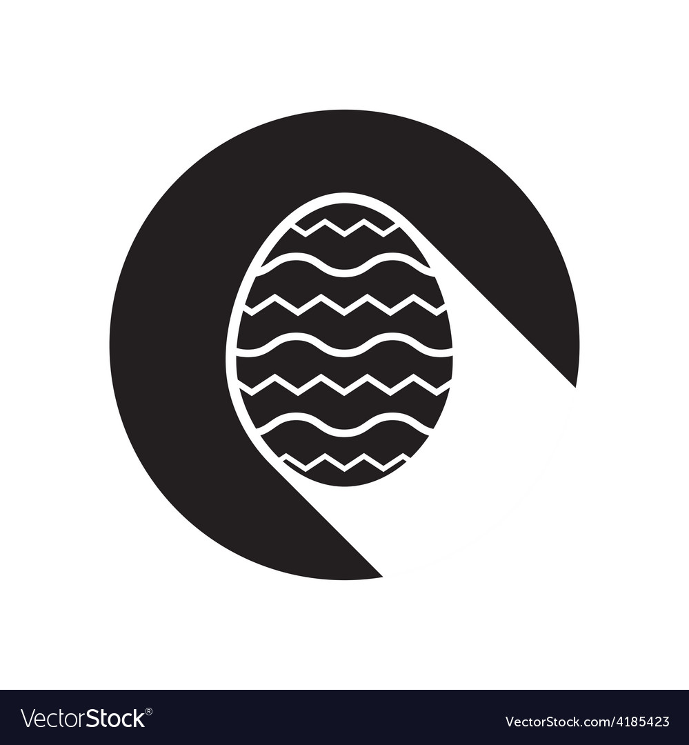 Black icon with easter egg and stylized shadow vector | Price: 1 Credit (USD $1)
