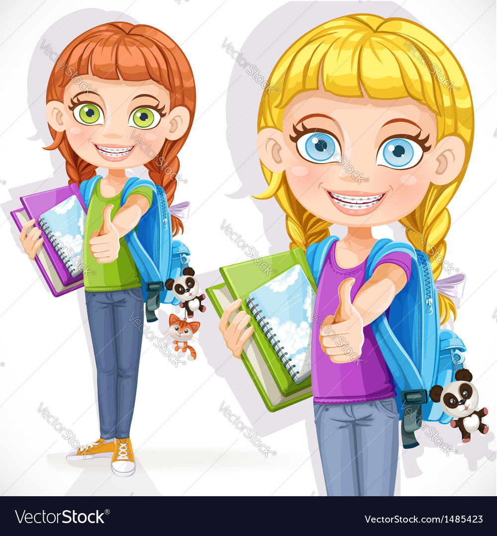 Girl student with a backpack vector | Price: 3 Credit (USD $3)