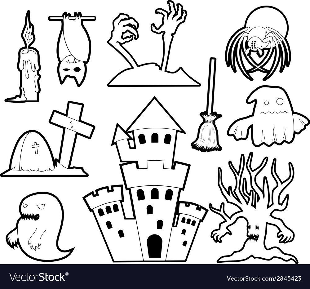Halloween set - coloring book vector | Price: 1 Credit (USD $1)