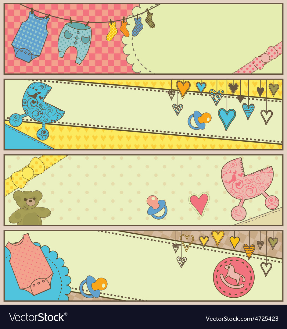 Set of 4 horizontal baby themed banners vector | Price: 1 Credit (USD $1)