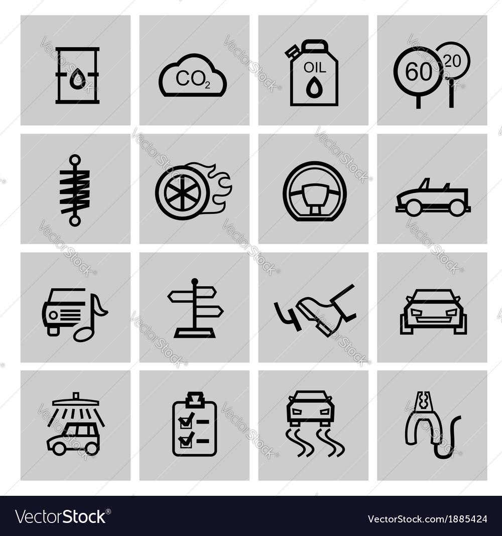 Black auto icons set vector | Price: 1 Credit (USD $1)