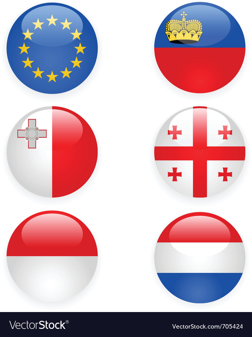 Europe flags buttons part three vector | Price: 1 Credit (USD $1)