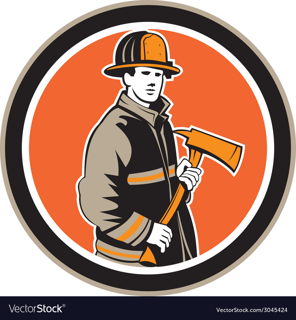 Fireman firefighter holding fire axe circle vector | Price: 1 Credit (USD $1)