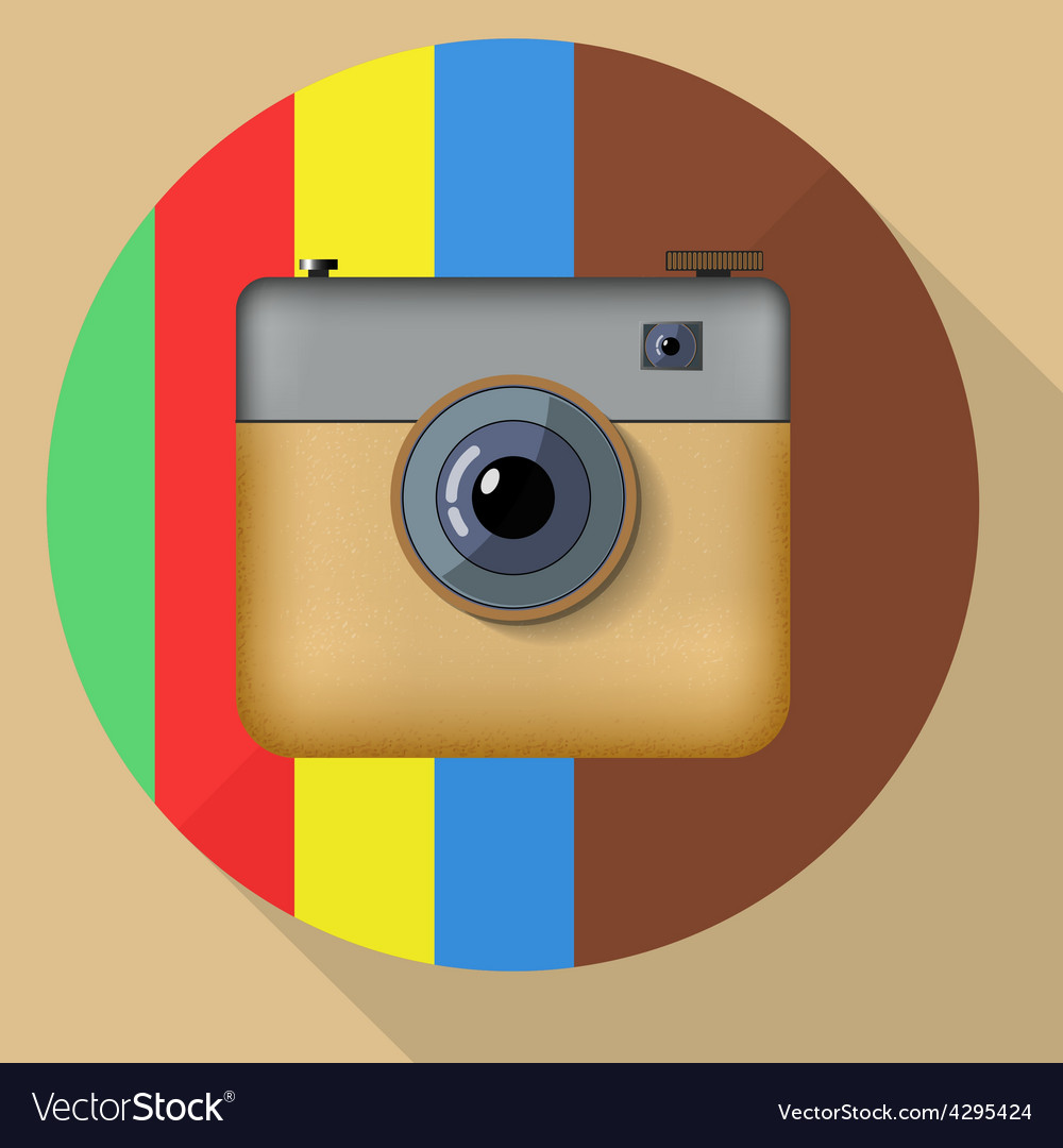 Hipster colorful realistic photo camera icon with vector | Price: 1 Credit (USD $1)