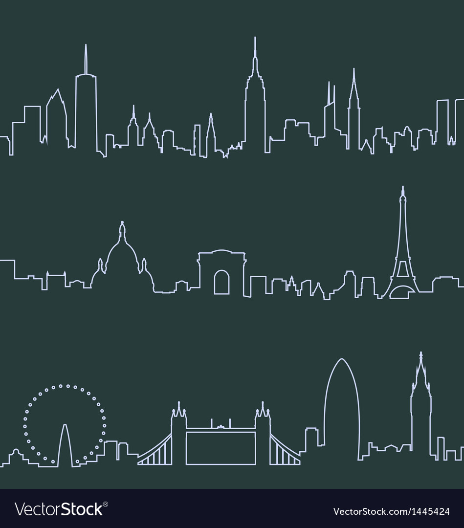 New york paris and london profile lines vector | Price: 1 Credit (USD $1)