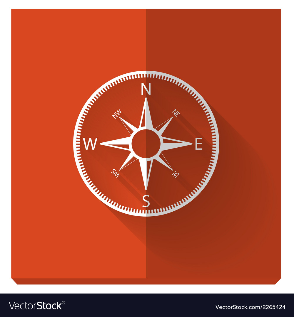 Paper flat icon with a shadow compass vector | Price: 1 Credit (USD $1)