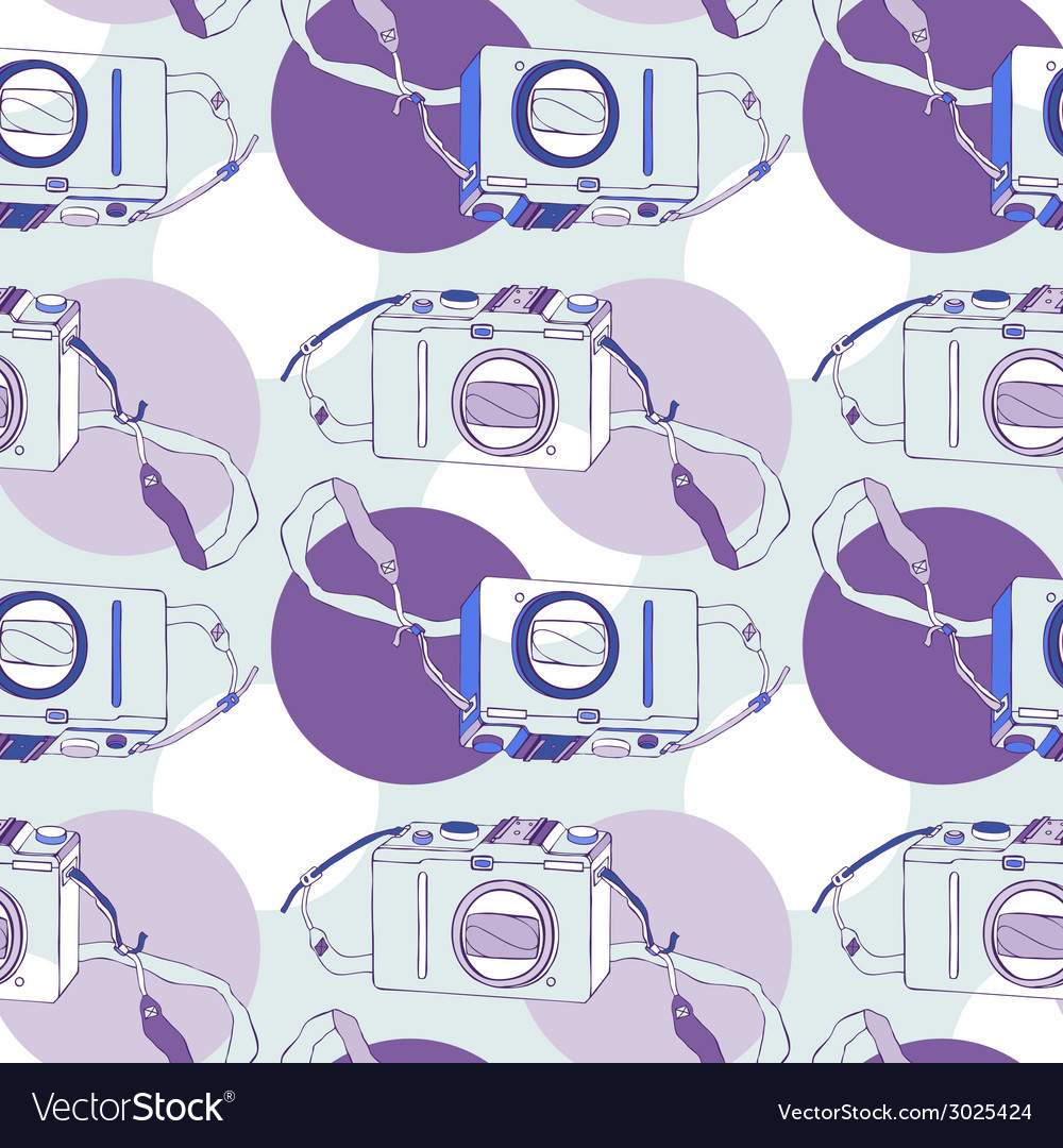 Photo camera seamless pattern vector | Price: 1 Credit (USD $1)