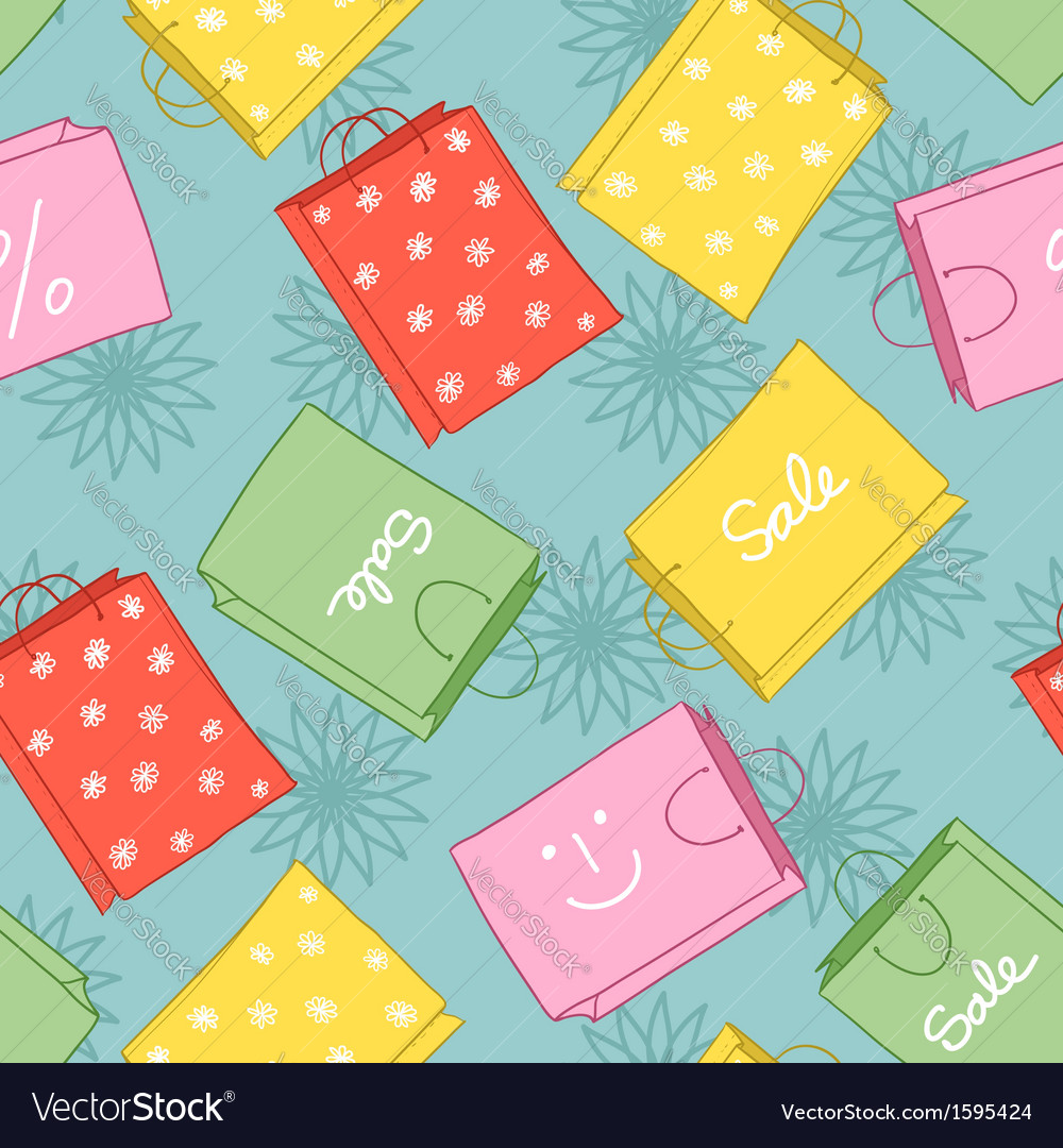 Seamless background with shopping colorful decorat vector | Price: 1 Credit (USD $1)