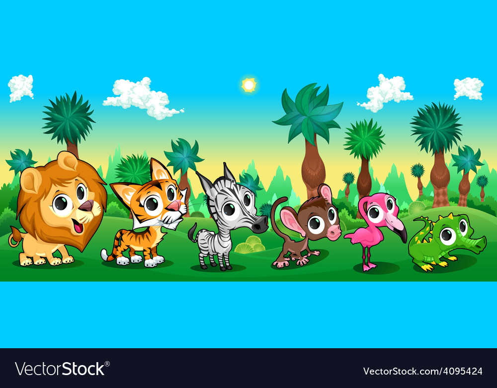 Set of funny animals in the forest vector   Price: 3 Credit (USD $3)