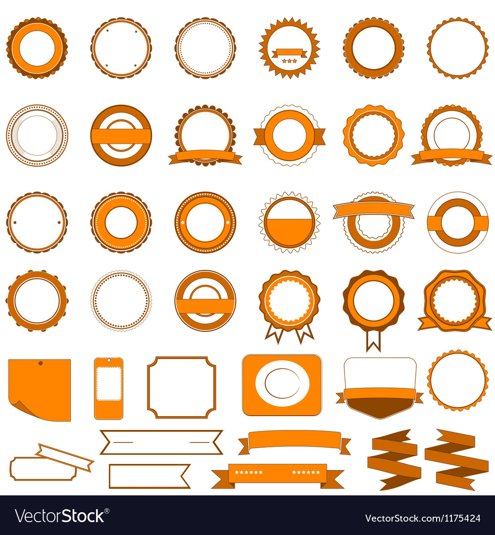 Set of sale badges labels and stickers in orange vector | Price: 1 Credit (USD $1)