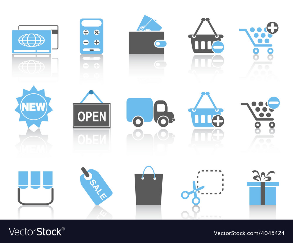Shopping icons set blue series vector | Price: 1 Credit (USD $1)