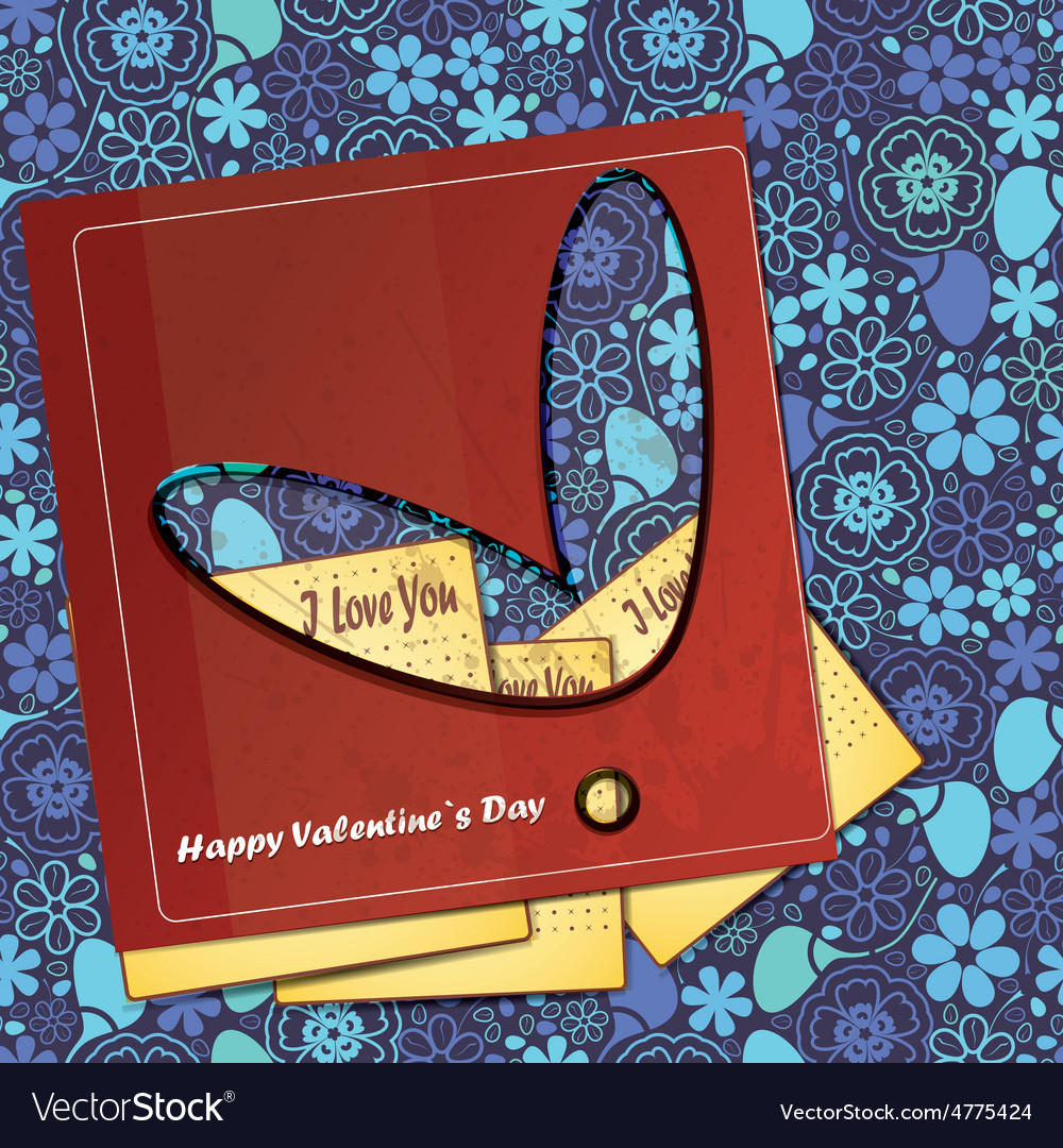 Valentine day card with floral heart vector | Price: 1 Credit (USD $1)