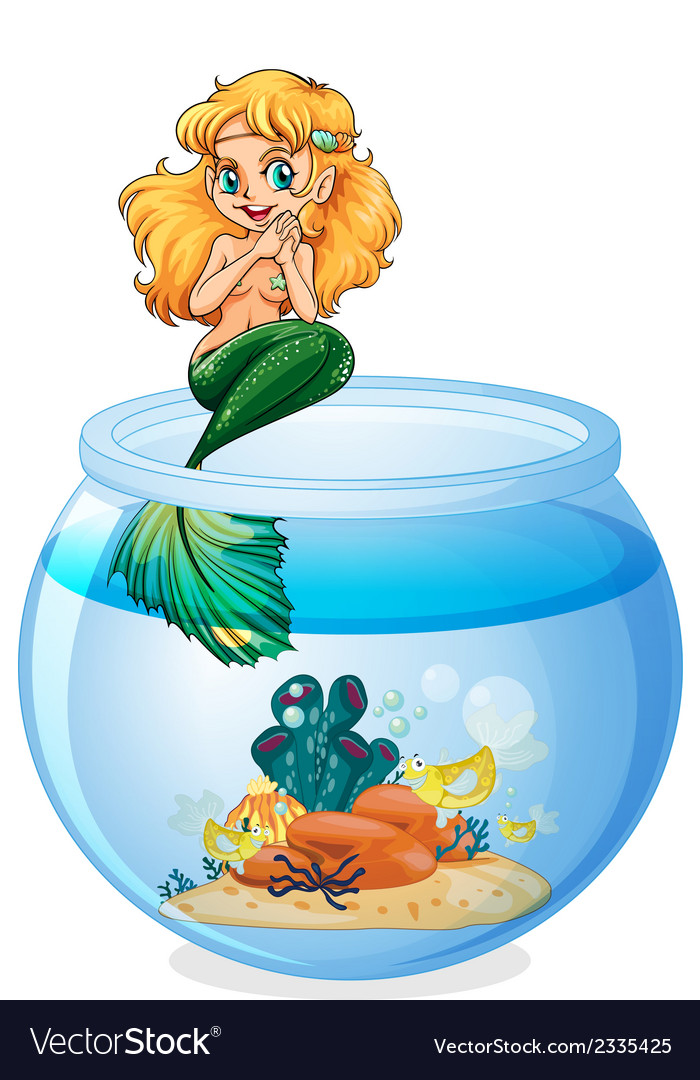 A jar with a mermaid vector | Price: 1 Credit (USD $1)