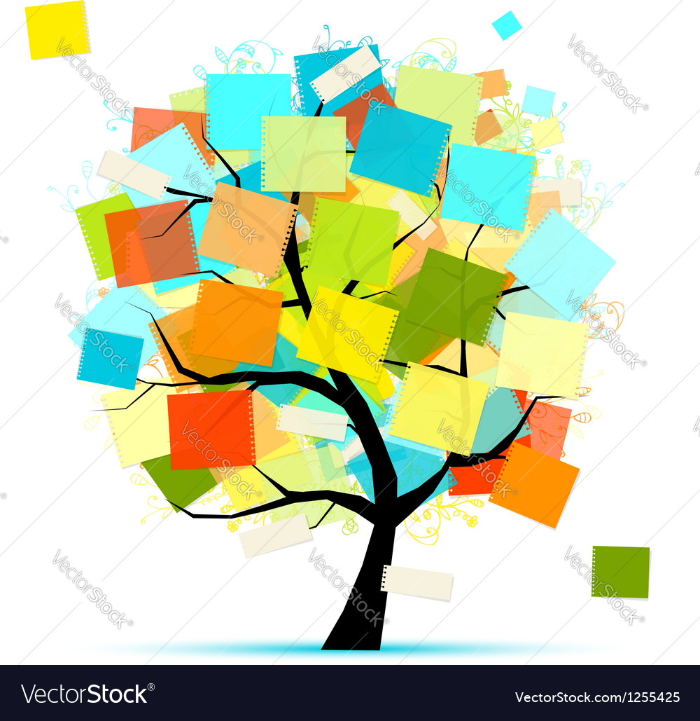 Art tree with stickers for your design vector | Price: 1 Credit (USD $1)