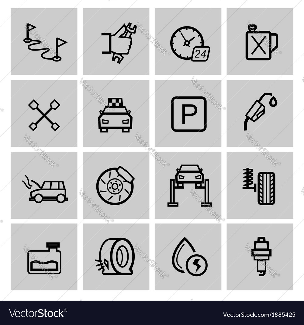 Black auto icons set vector | Price: 1 Credit (USD $1)
