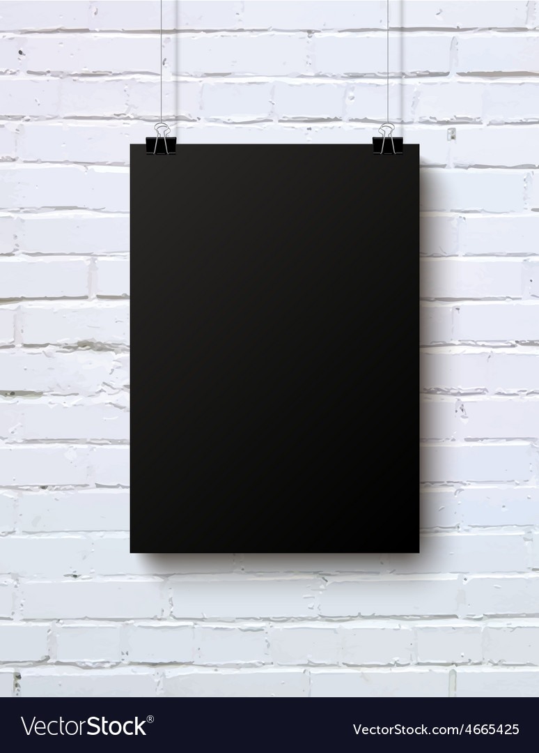 Black blank vertical piece of paper on the white vector | Price: 1 Credit (USD $1)