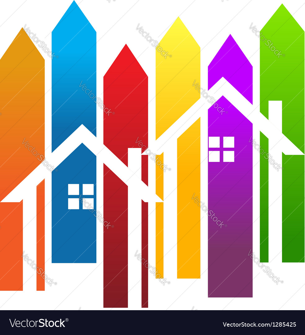 Color stripes and houses vector | Price: 1 Credit (USD $1)