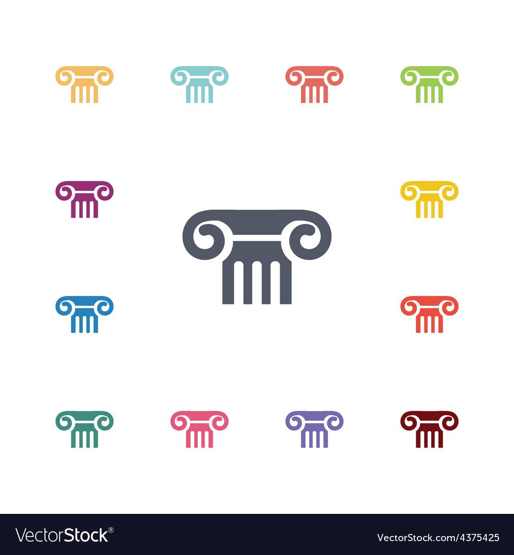 Column flat icons set vector | Price: 1 Credit (USD $1)