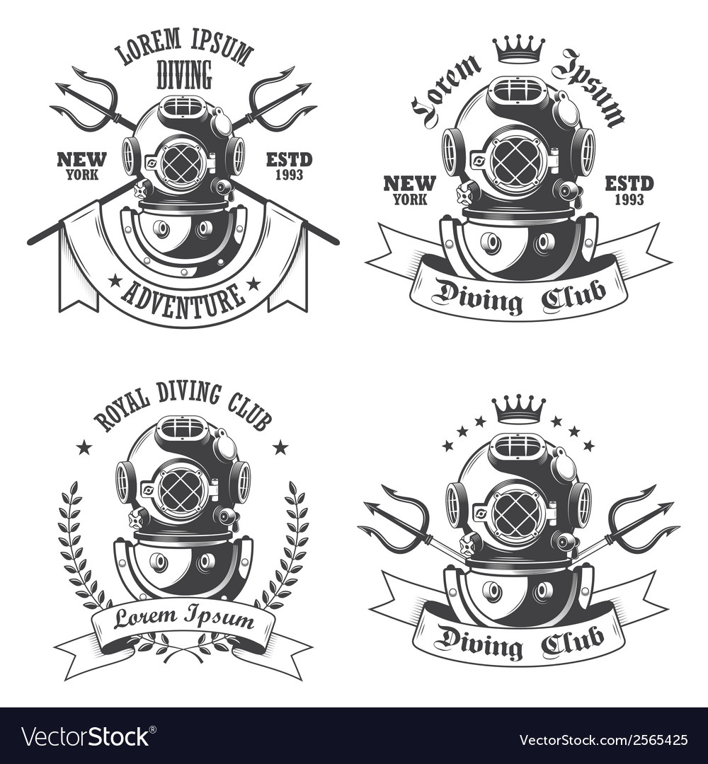 Diving emblem vector | Price: 1 Credit (USD $1)