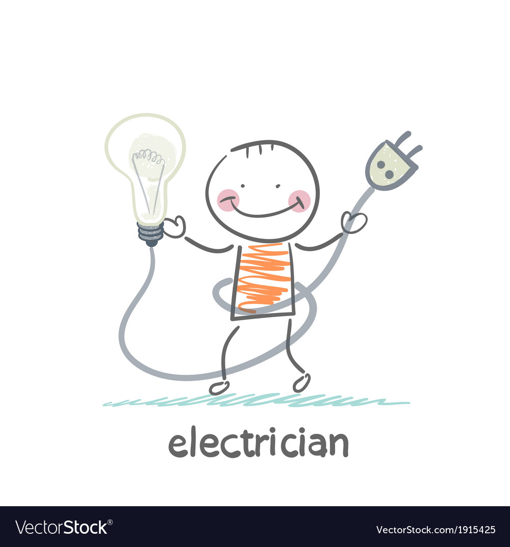 Electrician holding a light bulb vector | Price: 1 Credit (USD $1)