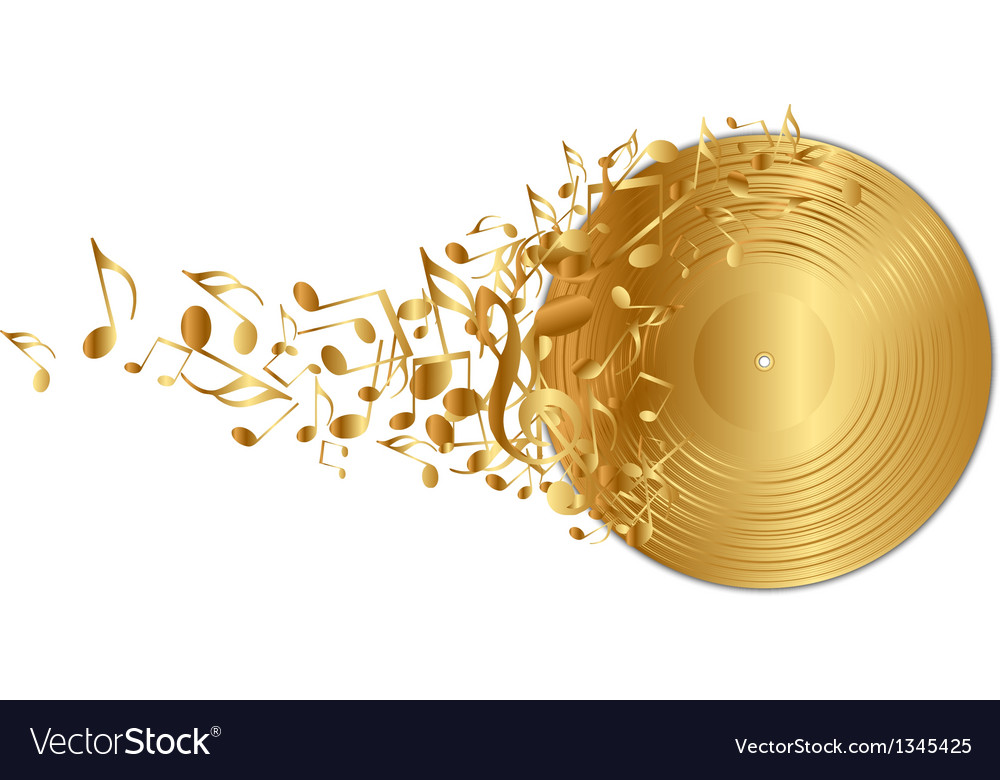 Golden vinyl record with notes vector | Price: 1 Credit (USD $1)