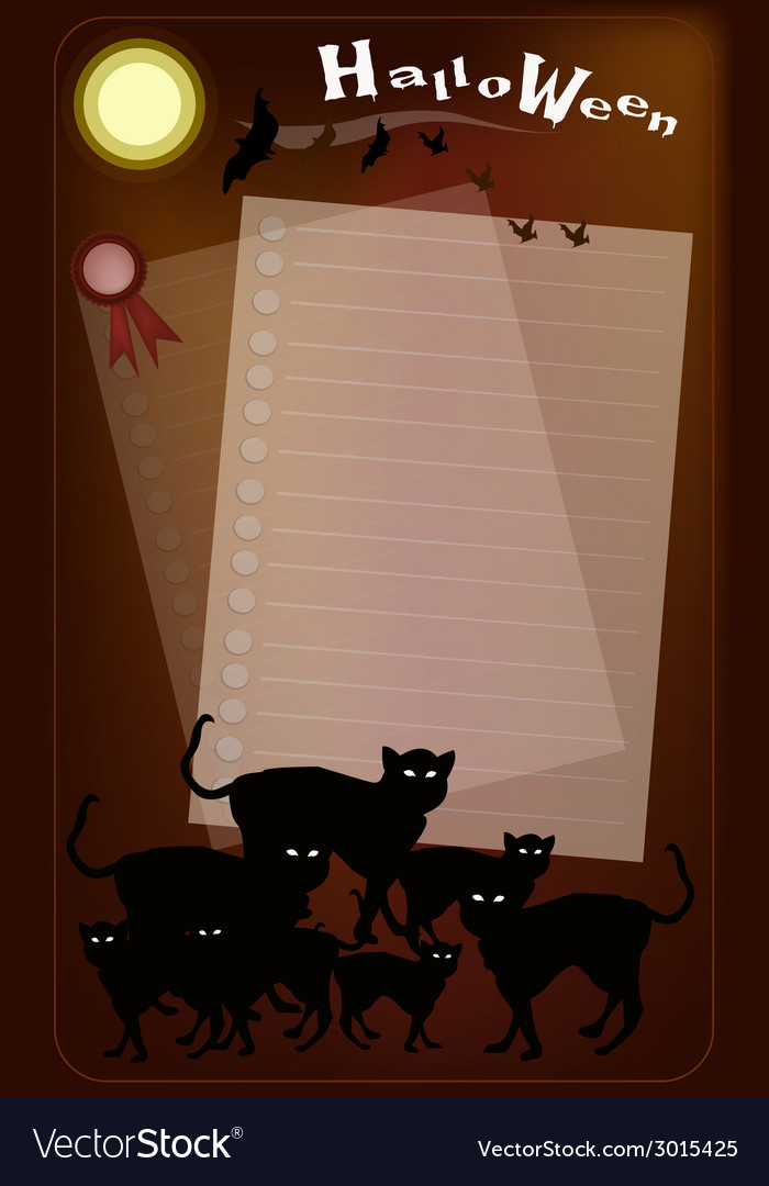 Halloween black cats on full moon background vector | Price: 1 Credit (USD $1)