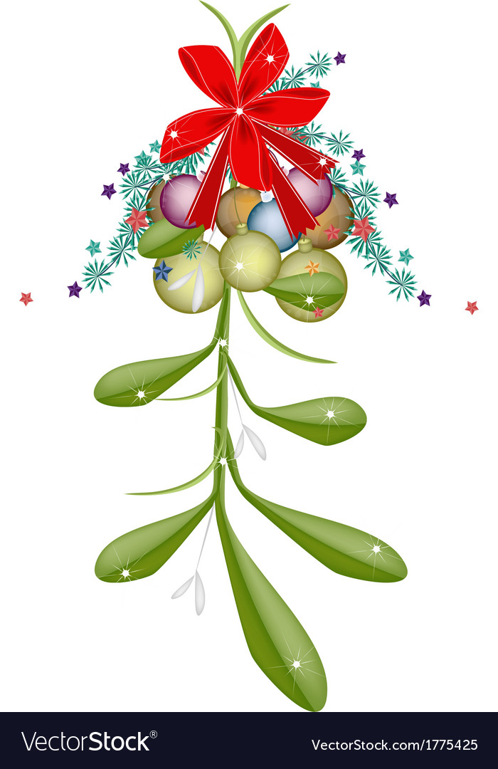 Hanging green mistletoe with a red bow vector | Price: 1 Credit (USD $1)