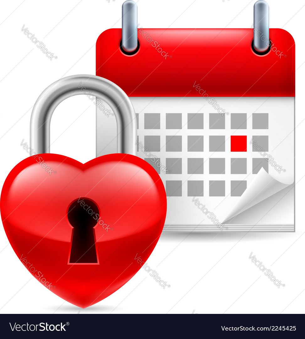 Heart lock and calendar vector | Price: 1 Credit (USD $1)