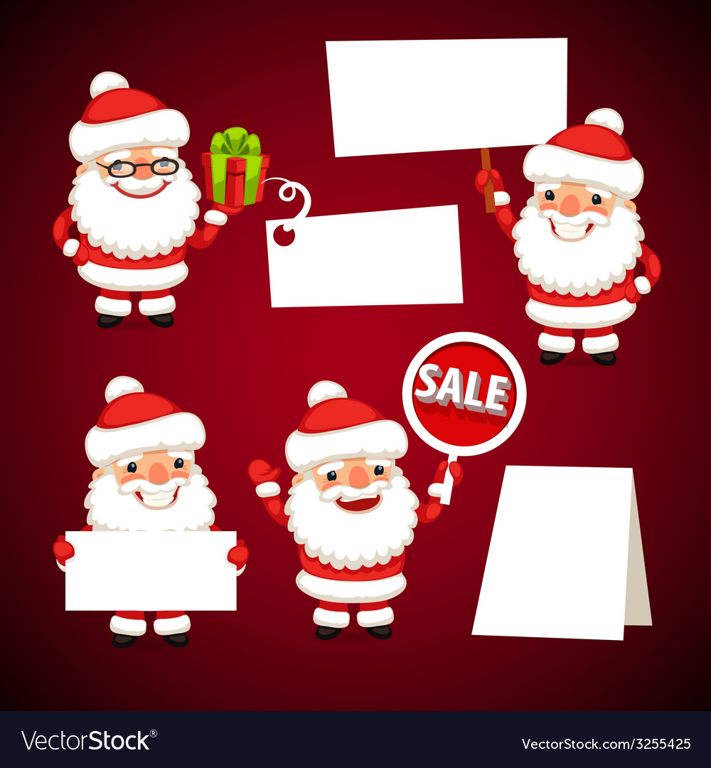 Set of cartoon santa claus with white board vector | Price: 3 Credit (USD $3)